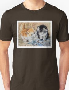 Two Cute Kittens Play With Blue Ribbon - Ronner-Knip Unisex T-Shirt