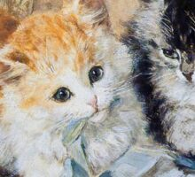 Two Cute Kittens Play With Blue Ribbon - Ronner-Knip Sticker