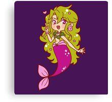 Green Haired Mermaid Canvas Print