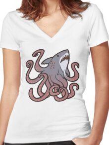 Cute Sharktopus Women's Fitted V-Neck T-Shirt