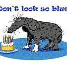 Sad dog and birthday cake, don't look so blue. by Mary Taylor