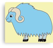 Light Blue Buffalo with Horns Canvas Print