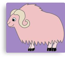 Light Pink Buffalo with Horns Canvas Print
