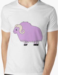 Light Purple Buffalo with Horns Mens V-Neck T-Shirt