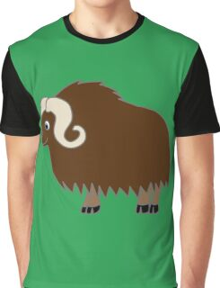 Brown Buffalo with Horns Graphic T-Shirt