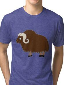 Brown Buffalo with Horns Tri-blend T-Shirt