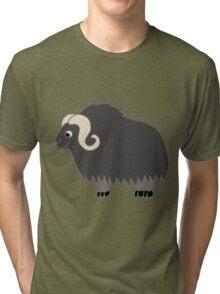Dark Gray Buffalo with Horns Tri-blend T-Shirt