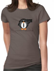 Happy Beats Penguin Womens Fitted T-Shirt