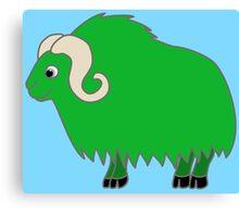 Green Buffalo with Horns Canvas Print