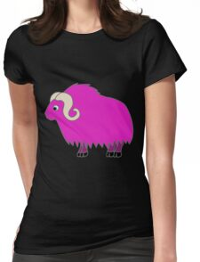 Hot Pink Buffalo with Horns Womens Fitted T-Shirt