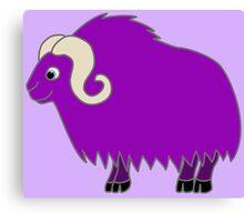 Purple Buffalo with Horns Canvas Print