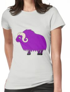 Purple Buffalo with Horns Womens Fitted T-Shirt