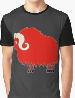 Red Buffalo with Horns Graphic T-Shirt