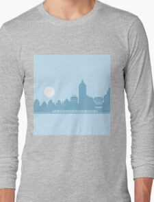 City Skyline with Robot Long Sleeve T-Shirt