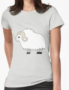 White Buffalo with Horns Womens Fitted T-Shirt