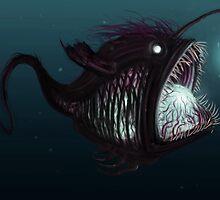Deep sea angler - Diceratias nassa by Katie Feldman