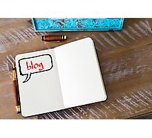 Written text BLOG on notebook  Photographic Print