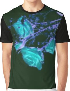 Neon Blue Roses on black Graphic T-Shirt