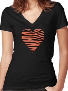 0478 Outrageous Orange Tiger Women's Fitted V-Neck T-Shirt