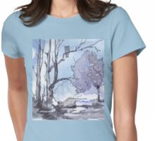 Full moon and a Spotted Eagle Owl Womens Fitted T-Shirt