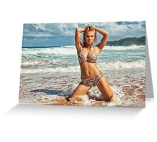 Sexy Young Blonde Bikini Model Posing on Hawaiian Beach Greeting Card
