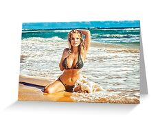 Sexy Bikini Model Posing on Remote Hawaiian Beach Greeting Card