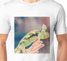 Close up on chameleon with vintage filter applied Unisex T-Shirt