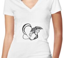 The Eagle and the Butterfly Women's Fitted V-Neck T-Shirt