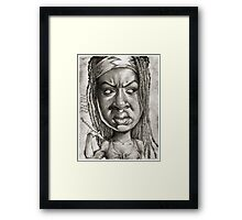 Michonne caricature art by Sheik Framed Print