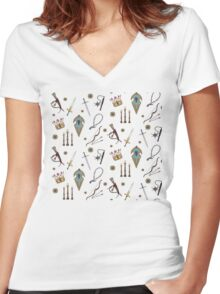 Swords & Shields & Maces, Oh My! Women's Fitted V-Neck T-Shirt