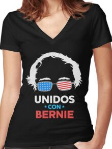 Unidos Con Bernie Shirt and Fundraising Gear Women's Fitted V-Neck T-Shirt