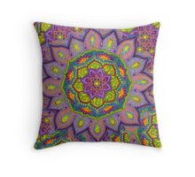 Purple Sun Mandala (with background) Throw Pillow