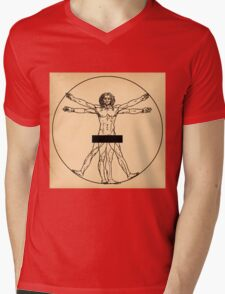 Vitruvian Man Mens V-Neck T-Shirt
