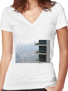 Photography of tall buildings from Dubai, UAE. Women's Fitted V-Neck T-Shirt