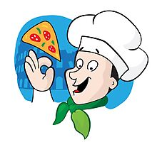 Cartoon chef with pizza Photographic Print