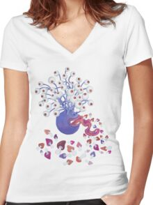 Monster Mushroom Women's Fitted V-Neck T-Shirt