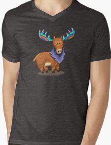 Rainbow Moose Mens V-Neck T-Shirt