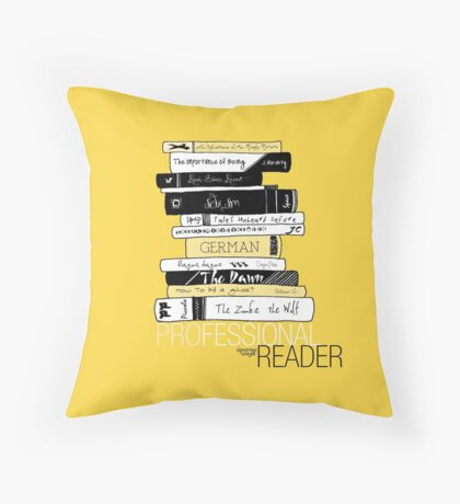 Professional Reader (Yellow) Throw Pillow
