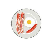 Egg Sausage Bacon Plate Retro Photographic Print