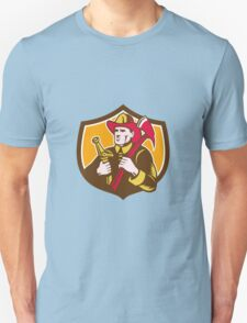 Fireman Firefighter  Axe Hose Crest Woodcut Unisex T-Shirt