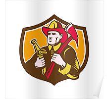 Fireman Firefighter  Axe Hose Crest Woodcut Poster