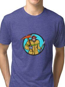 Fireman Firefighter Fire Axe Hook Circle Retro Tri-blend T-Shirt