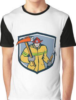Fireman Firefighter Fire Axe Hook Crest Retro Graphic T-Shirt