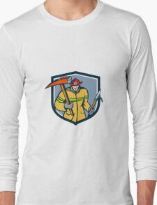 Fireman Firefighter Fire Axe Hook Crest Retro Long Sleeve T-Shirt