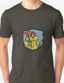 Fireman Firefighter Fire Axe Hook Crest Retro T-Shirt