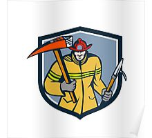 Fireman Firefighter Fire Axe Hook Crest Retro Poster