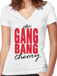 The Gang Bang Theory Women's Fitted V-Neck T-Shirt