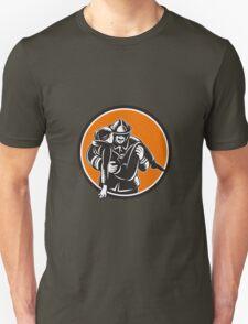 Fireman Firefighter Saving Girl Circle Woodcut T-Shirt