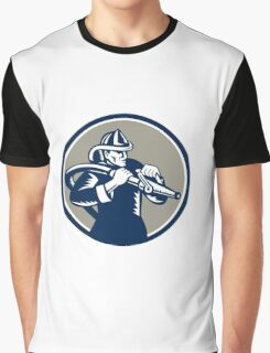 Vintage Fireman Firefighter Aiming Hose Circle Woodcut Graphic T-Shirt