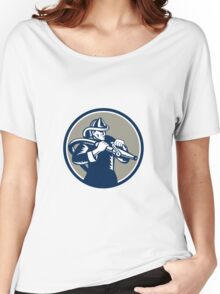 Vintage Fireman Firefighter Aiming Hose Circle Woodcut Women's Relaxed Fit T-Shirt